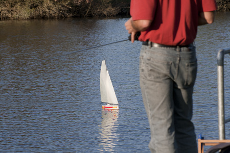 zest for life: Model boat leads to the water Stock Photo