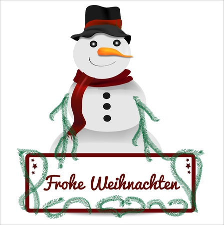 x mas parties: Snowman with christmas sign graphic Illustration