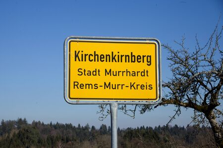 Place name sign of german city `Kirchenkirnberg` in Baden Wuerttemberg in Germany