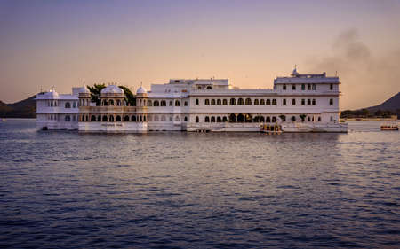 The Lake Palace initially called 'Jagniwas' was built between 1743-46 as winter palace by King Jagat Singh II (62nd successor of Mewar royal dynasty) located in Lake Pichola,  Udaipur, Rajasthan. 스톡 콘텐츠