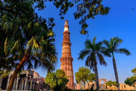 Qutub Minar is a highest minaret in India standing 73 m tall tapering tower of five storeys made of red sandstone and marble established in 1192. It is UNESCO world heritage site at  New Delhi,India