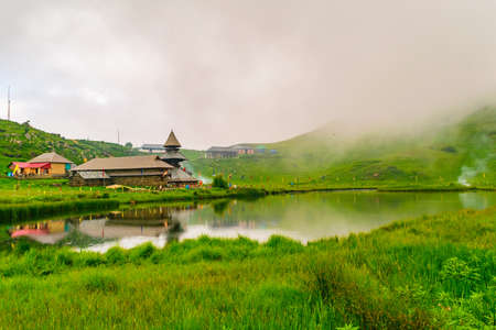 Prashar Lake is located at a height of 2730 m above sea level with a three storied pagoda-like temple of sage Prashar near Mandi, Himachal Pradesh, India. The lake has a floating island in it.