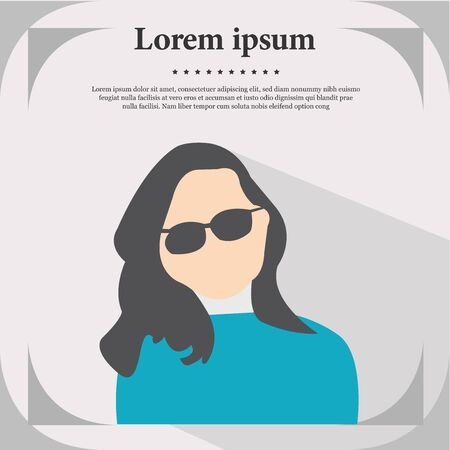 Professional Profile Icon, Female Portrait Flat Design Vector Illustration, Female Profile Illustration