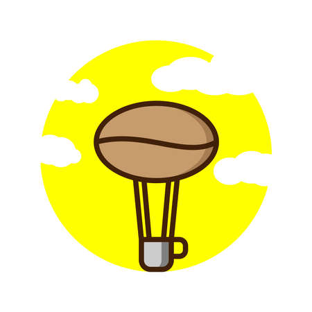 illustration vektor graphic of coffee air ballon perfect for design clothes or make a logo something related to coffee.