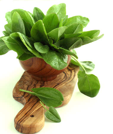 sorrel: Fresh sorrel isolated on white background in the wooden bowl Stock Photo