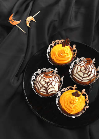 Halloween pumpkin cupcake  photo