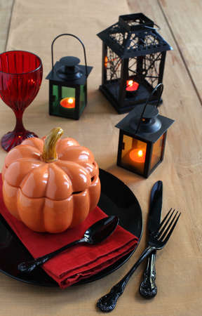 Halloween table setting with candles  photo