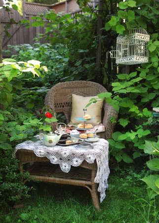 スコーン、ジャム、ダブル クリームとお茶の時間 写真素材