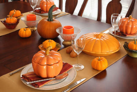Table setting for Thanksgiving Day Stok Fotoğraf