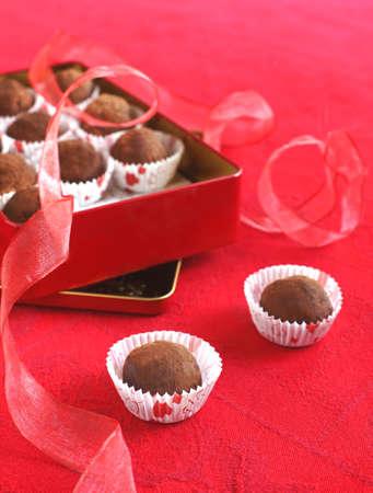 Chocolate truffles in a gift box