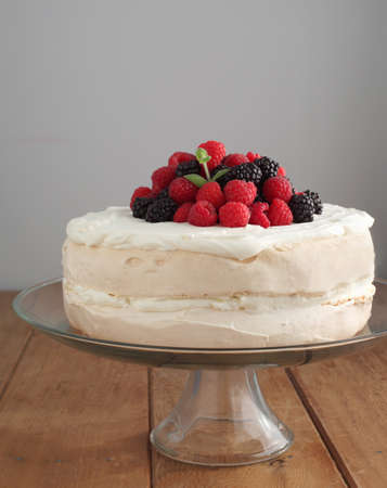 Meringue cake with berries  Stock Photo - 17263509