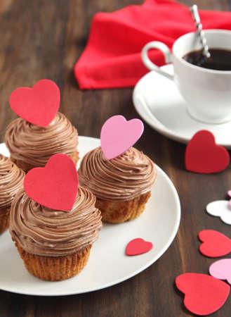 Valentine chocolate cupcake photo