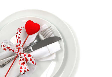 Table place setting for Valentine s Day  photo