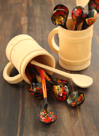 Traditional Russian decorated khokhloma wooden spoons photo