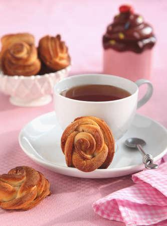 shaped: Rose shaped cinnamon bun  Stock Photo