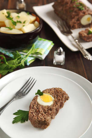 meatloaf: Meatloaf with eggs Stock Photo