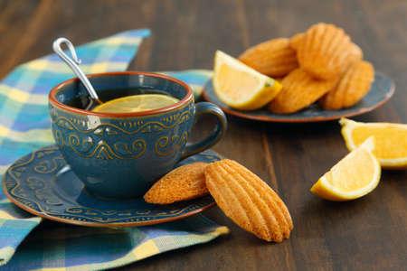 madeleine: Lemon Madeleine and cup of tea
