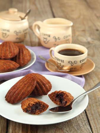 Warm chocolate madeleines photo
