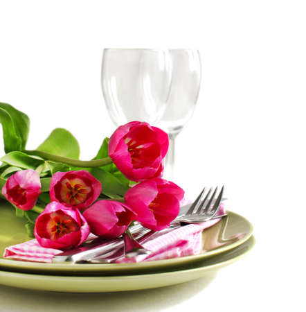 Spring table setting with tulips photo