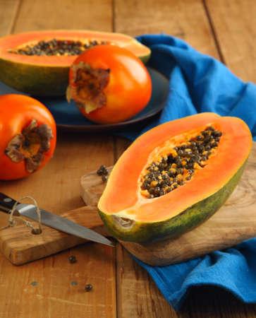 Papaya and persimmon