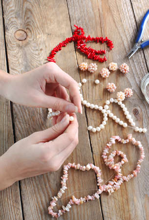 Making a pearl necklace photo