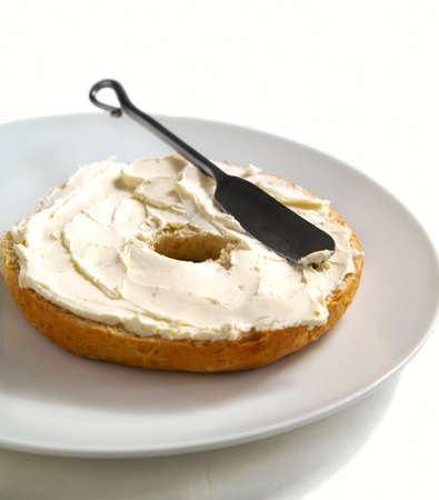 Freshly Baked Bagel with Cream Cheese for Breakfast