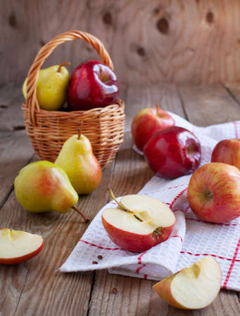 Fresh apples and pears photo
