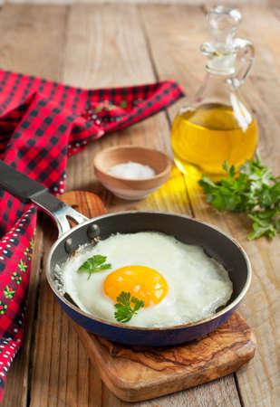 Fried eggs in a frying pan for breakfast