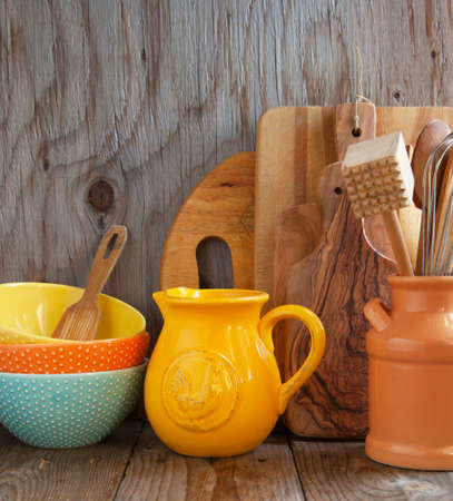 domestic kitchen: Kitchen cooking utensils