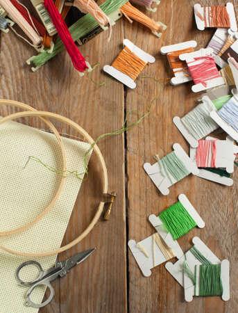 Cross-stitch set  colour palette, threads, canvas against a wooden background photo