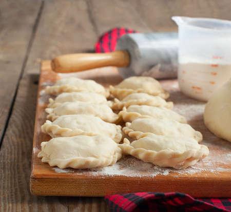 Making of pierogi with potato  Vareniki  Russian food