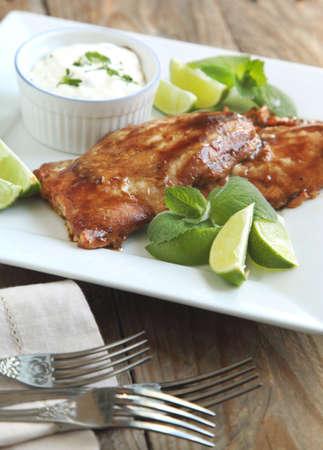 hoisin: Roasted salmon with hoisin glaze Stock Photo