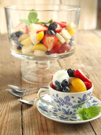Fruit salad with yogurt photo