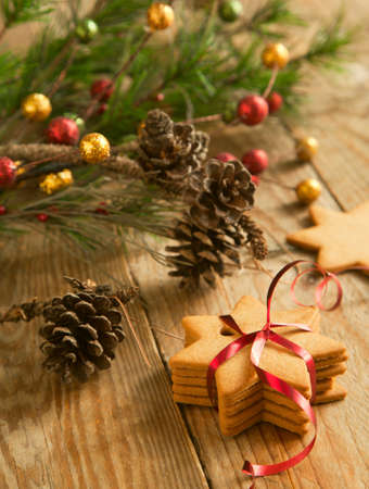 Christmas gingerbread cookies with festive decoration photo