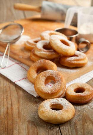 dough nut: Fresh donuts with powder sugar  Stock Photo