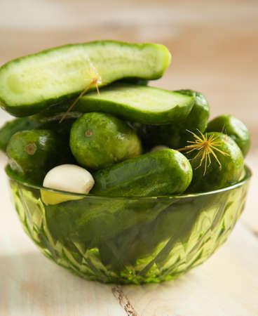 cucumbers: Fresh salted cucumbers