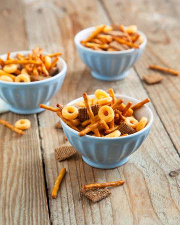 pretzel: Snack mix  Salty treat for snacking
