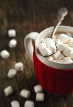 break: Mug filled with hot chocolate and marshmallows Stock Photo