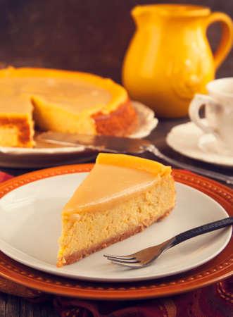 Pumpkin  cheesecake with caramel photo