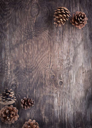 Rustikales Holz Hintergrund mit Tannenzapfen Standard-Bild - 23340260