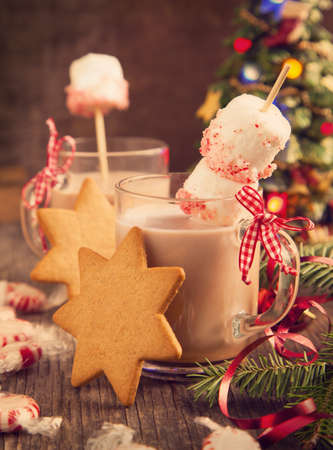 milk chocolate: Hot chocolate with peppermint candies coated marshmallows and cookies Stock Photo