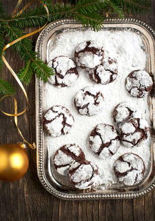crinkles: Chocolate Crinkles  Chocolate cookies in powdered sugar