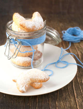 Crescents vanilla and almond cookies photo