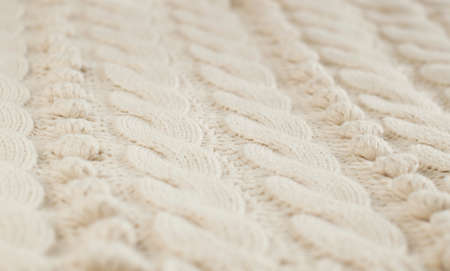 interweaving: Knitted fabric texture, small depth of field Stock Photo