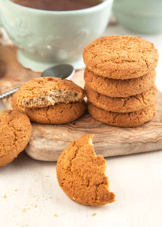 oatmeal: Oatmeal cookies and cup of tea Stock Photo