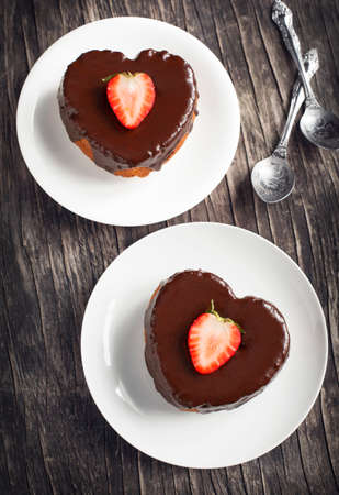 shaped: Heart shaped cakes with chocolate and strawberry