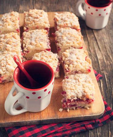 cafe y pastel: Crema Cranberry Cheese Cake Coffee Foto de archivo