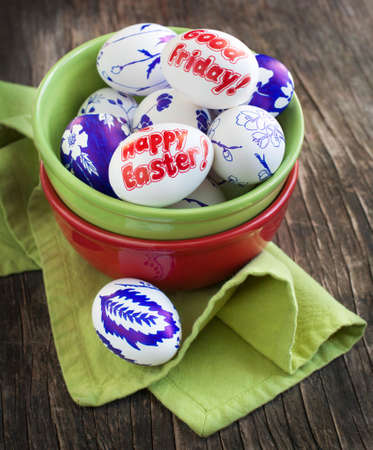 good friday: Decoration Easter eggs with words Happy Easter and Good Friday Stock Photo