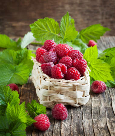 organic raspberry: Fresh organic raspberry in basket