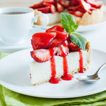 Cheesecake with strawberries Stock Photo